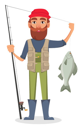 Fisher cartoon character. Fishermen holding fishing rod with caught fish. Vector illustration on white background Illustration
