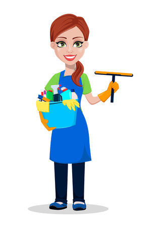 Cleaning company staff in uniform. Woman cartoon character cleaner holding scraper and bucket with detergents. Vector illustration on white background