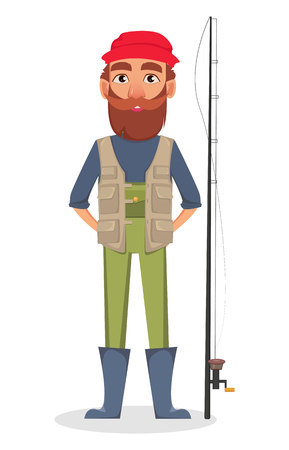 Fisher cartoon character. Fishermen standing near fishing rod. Vector illustration on white background Stock Illustratie