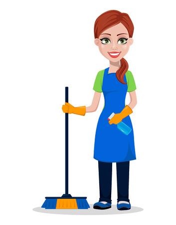 Personeel schoonmaakbedrijf in uniform. Vrouw cartoon karakter schonere bedrijf borstel en sproeier. Vector illustratie.