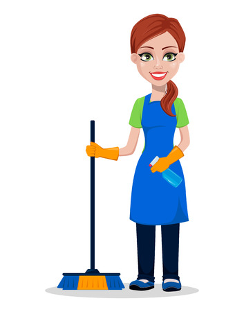 Reinigungspersonal in Uniform. Frauenkarikaturcharakterreiniger, der Pinsel und Sprüher hält. Vektorillustration.
