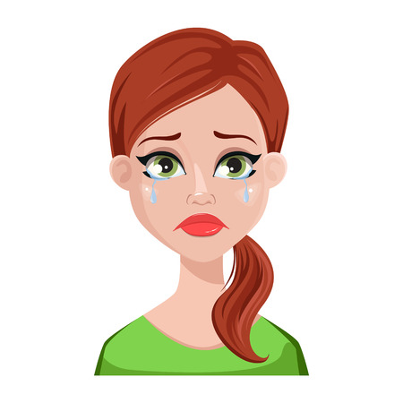 Face expression of cleaner woman with brown hair. Female emotion, crying. Beautiful cartoon character. Vector illustration isolated on white background.
