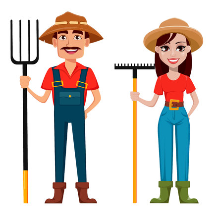 Farmers, man and woman, cartoon characters, set. Beautiful lady gardener with rake and handsome gardener with pitchfork. Vector illustration.