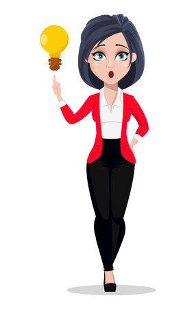 Business woman, manager, banker. Beautiful female banker in business suit. Pretty cartoon character having a brilliant idea. Vector illustration on white background