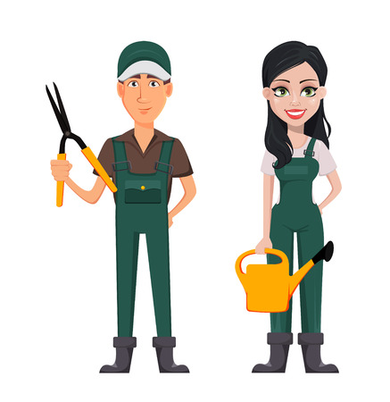 Gardeners, man and woman, cartoon characters, set. Handsome farmer with secateurs and beautiful farmer lady with watering can. Vector illustration.