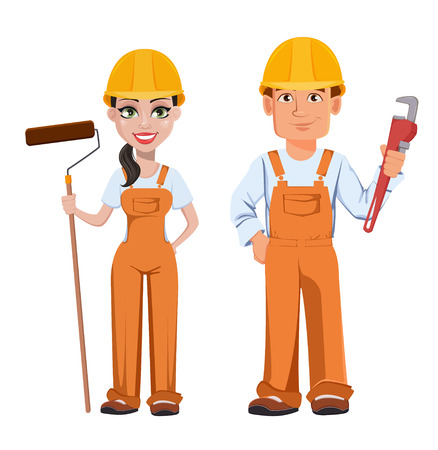 Builder man and woman in uniform, cartoon characters. Professional construction workers. Smiling repairman with wrench and woman with paint roller. Vector illustration