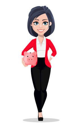 Business woman, manager, banker. Beautiful female banker in business suit. Pretty cartoon character holding piggy bank. Vector illustration on white background 일러스트
