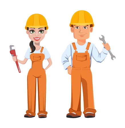 Builder man and woman in uniform, cartoon characters. Professional construction workers. Smiling repairman with wrench and woman with adjustable wrench. Vector illustration Stock Illustratie