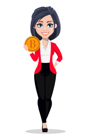 Business woman, manager, banker. Beautiful female banker in business suit. Pretty cartoon character holding bitcoin. Vector illustration on white background