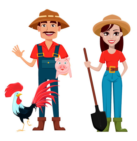 Farmers, man and woman, cartoon characters, set. Beautiful lady gardener with shovel and handsome gardener with farm animals. Vector illustration. Ilustração