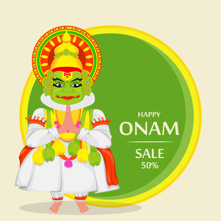 Kathakali dancer. Happy Onam festival of South India Kerala. Colorful vector illustration for sale, banner or advertisement. Illustration