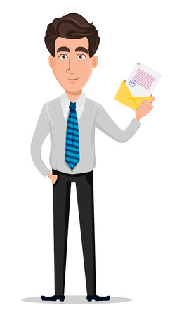 Business man in office style clothes. Businessman, banker, manager, cartoon character holding envelope with document. Vector illustration