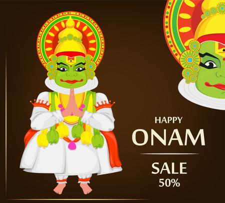 Kathakali dancer. Happy Onam festival of South India Kerala. Vector illustration on brown background for sale, advertisement Illustration