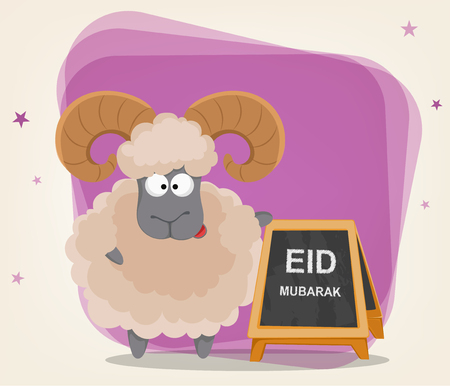 Festival of sacrifice Eid al-Adha. Traditional muslin holiday. Greeting card with funny ram standing near banner. Vector illustration on abstract violet background. Illustration