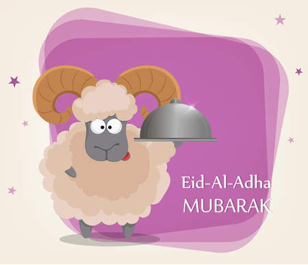 Festival of sacrifice Eid al-Adha. Traditional muslin holiday. Greeting card with funny ram holding restaurant cloche. Vector illustration on abstract violet background. Illustration
