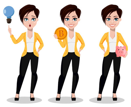 Business woman, freelancer, banker, set of three poses. Beautiful lady in casual clothes having a good idea, holding bitcoin and holding piggy bank. Vector illustration on white background.