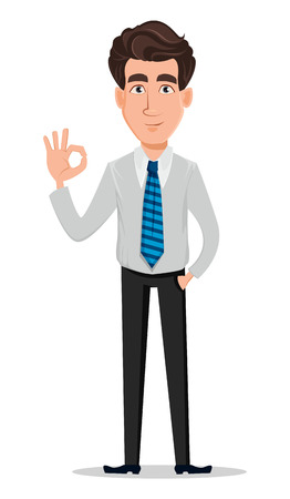 Business man in office style clothes. Businessman, banker, manager, cartoon character showing ok sign. Vector illustration