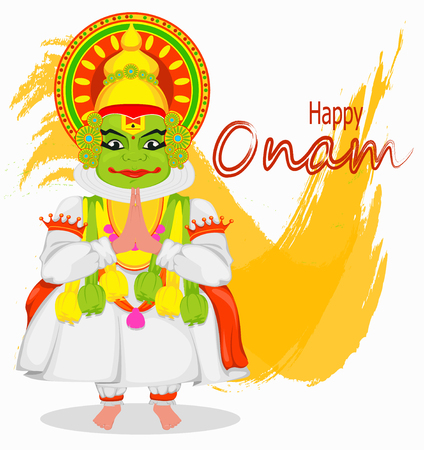 Kathakali dancer. Happy Onam festival of South India Kerala. Colorful vector illustration on abstract background