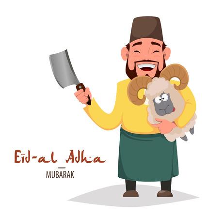 Muslim traditional holiday Eid al-Adha. Sacrifice a ram. Greeting card for Kurban Bayrami with Arabic man holding ram. Vector illustration on white background Vector Illustration