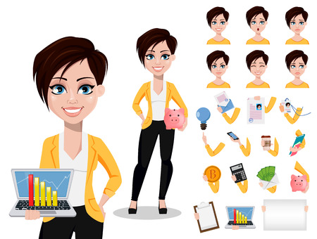 Business woman, freelancer, banker. Beautiful lady in casual clothes. Pack of body parts, emotions and things. Build your personal design. Vector illustration
