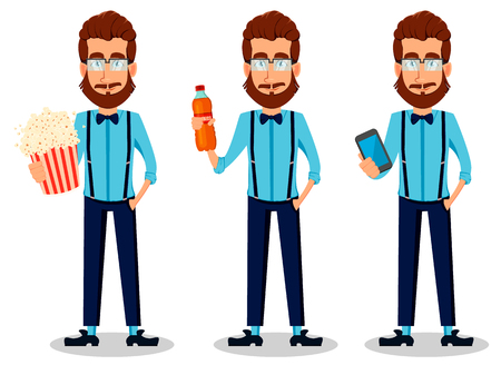 Young bearded hipster man in glasses, set of three poses. Handsome cartoon character holding popcorn, holding fresh drink and holding smartphone. Vector illustration Vectores