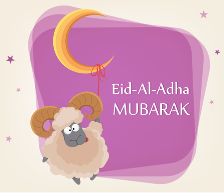 Festival of sacrifice Eid al-Adha. Traditional muslin holiday. Greeting card with funny ram hanging on a moon. Vector illustration on abstract violet background.