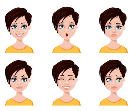 Expressions de visage de femme avec une coiffure à la mode. Ensemble d'émotions féminines différentes. Beau personnage de dessin animé. Illustration vectorielle isolée sur fond blanc.