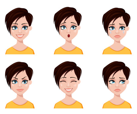 Face expressions of woman with fashionable hairstyle. Different female emotions set. Beautiful cartoon character. Vector illustration isolated on white background. Stock Illustratie