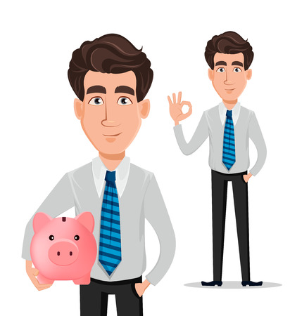 Business man in office style clothes. Businessman, banker, manager, cartoon character holding piggy bank and showing ok sign. Vector illustration