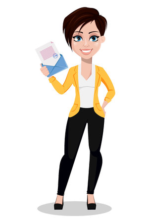 Business woman, freelancer, banker. Beautiful lady in casual clothes holding envelope with document. Vector illustration on white background.