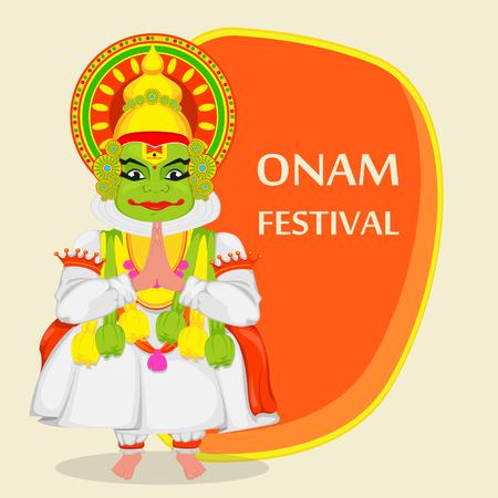 Kathakali dancer. Happy Onam festival of South India Kerala. Colorful vector illustration on orange background Illustration