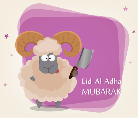 Festival of sacrifice Eid al-Adha. Traditional muslin holiday. Greeting card with funny ram holding cleaver. Vector illustration on abstract violet background. Ilustrace