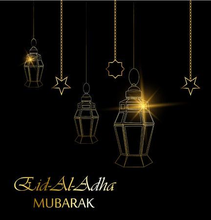 Eid al adha beautiful greeting card with hanging lanterns, moon and stars on black background. Muslim traditional holiday Kurban Bayram. Vector.