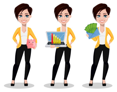Business woman, freelancer, banker, set of three poses. Beautiful lady in casual clothes holding piggy bank, holding laptop and holding envelope with money. Vector illustration on white background.