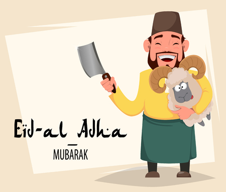 Muslim traditional holiday Eid al-Adha. Sacrifice a ram. Greeting card for Kurban Bayrami with Arabic man holding ram. Vector illustration
