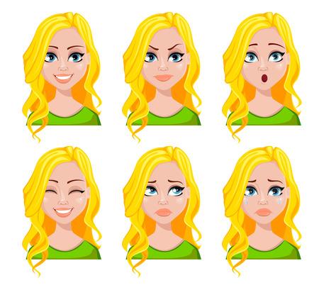 Gesichtsausdrücke der Studentin. Verschiedene weibliche Emotionen eingestellt. Schöne Zeichentrickfigur. Vektorillustration lokalisiert auf weißem Hintergrund.