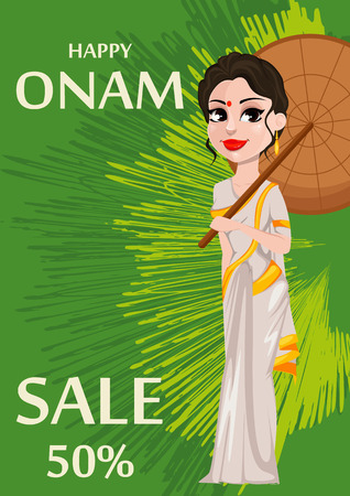 Onam celebration. Indian woman in traditional clothes holding umbrella. Happy Onam festival in Kerala. Vector illustration for sale on green abstract background