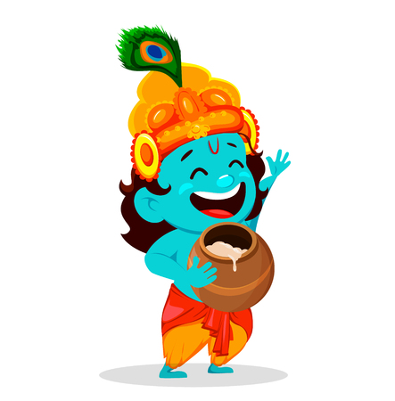 Happy Krishna Janmashtami greeting card. Funny cartoon character Lord Krishna Indian God holding pot. Vector illustration on white background