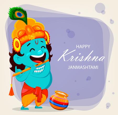 Happy Krishna Janmashtami greeting card. Funny cartoon character Lord Krishna Indian God plays the flute. Vector illustration on light purple background Vector Illustration