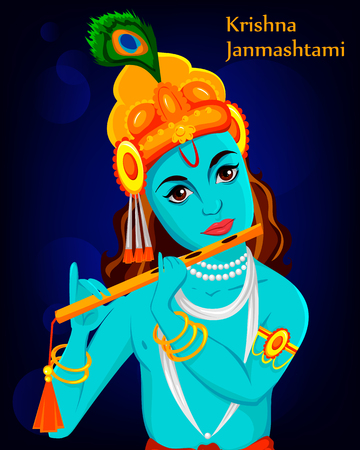 Happy Krishna Janmashtami greeting card. Lord Krishna Indian God plays the flute, close-up. Vector illustration on dark background. Illustration