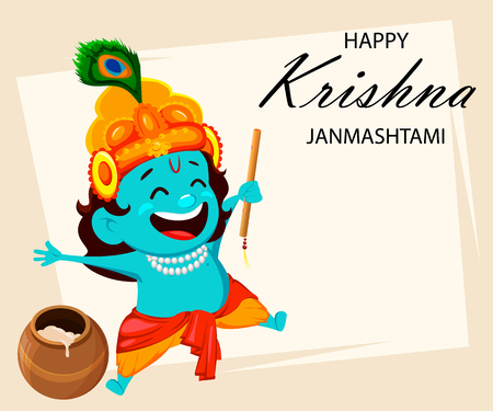 Happy Krishna Janmashtami greeting card. Funny cartoon character Lord Krishna Indian God jumping with flute. Vector illustration on abstract background
