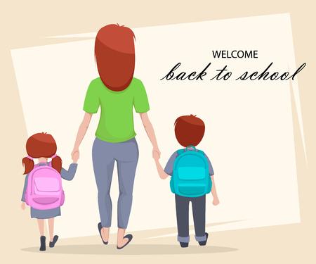 Bentornato a scuola biglietto di auguri, poster o volantino. Personaggi dei cartoni animati, madre con figlia e figlio vanno a scuola. Illustrazione vettoriale Vettoriali