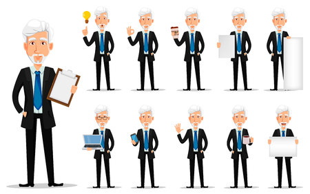 Business man in office style clothes with gray hair. Businessman cartoon character, set of eleven poses. Vector illustration on white background