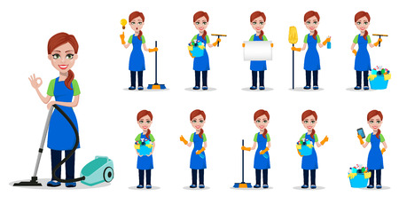Cleaning company staff in uniform. Woman cartoon character cleaner, set of eleven poses. Vector illustration on white background