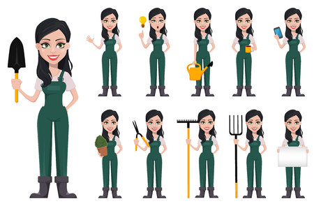Femme de jardinier, personnage de dessin animé en uniforme. Belle fermière, ensemble de onze poses. Illustration vectorielle sur fond blanc.