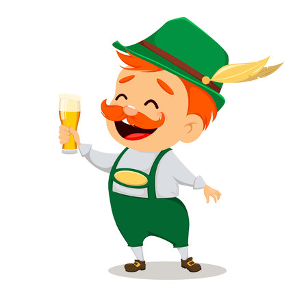 Oktoberfest, beer festival. Funny man, cartoon character holding a glass of fresh beer. Vector illustration on white background.