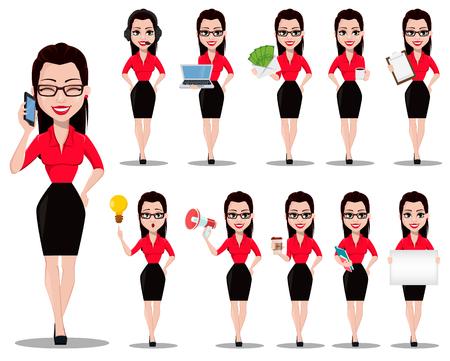Seksowna sekretarka. Piękna asystentka biurowa w ubraniach w stylu biurowym, zestaw jedenastu poz. Ilustracja wektorowa na białym tle