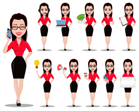 Sexy secretary. Beautiful office assistant in office style clothes, set of eleven poses. Vector illustration on white background Çizim