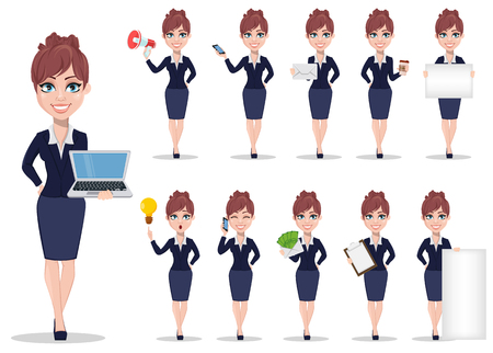 Businesswoman cartoon character. Beautiful business woman in office style clothes, set of eleven poses. Vector illustration on white background