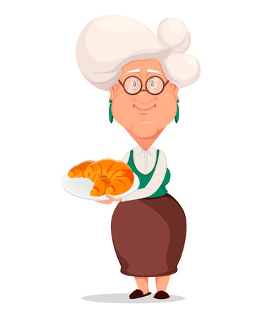 Grandmother wearing eyeglasses. Silver haired grandma. Cartoon character holding plate with croissants. Vector illustration on white background.  イラスト・ベクター素材